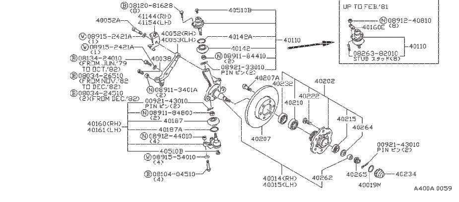 Nissan 720 Wheel Bearing  Front   Axle
