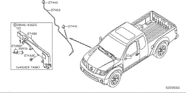 Nissan Frontier Windshield Washer Pump Grommet