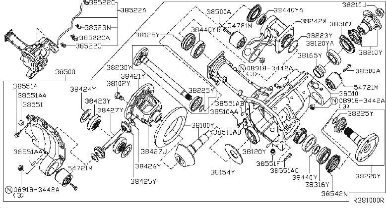 Nissan Pathfinder Beam Axle  Center Differential  Final