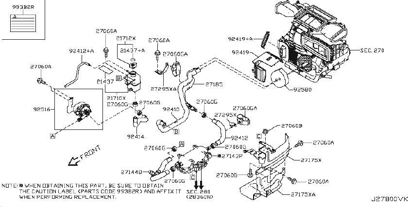 Nissan Leaf Engine Coolant Reservoir Hose  Piping  Hvac